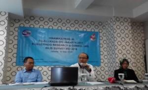 Direktur Konsepindo, Veri Muhlis Ariffuzaman (tengah) didampingi peneliti senior LIPI, Siti Zuhro (kanan), saat memaparkan hasil survei terkait Dinamika pemilih Pemilukada DKI Jakarta 2017 di Hotel Alia